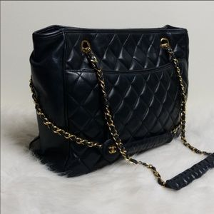 Chanel Large Quilted Navy Tote